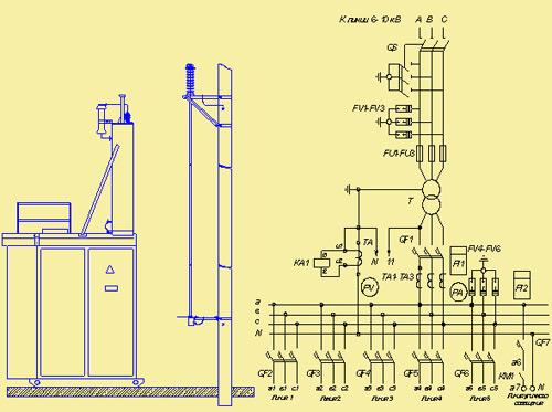 Схема подключения дизель генератора к трансформаторной подстанции
